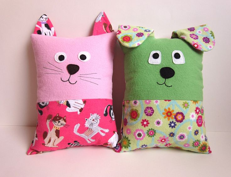 Dog and Cat Pillow Pattern, PDF Sewing Pattern with Optional Pocket for Tooth Fairy Pillow, Small Pillow for Toddlers to Tweens. $8.50, via Etsy.
