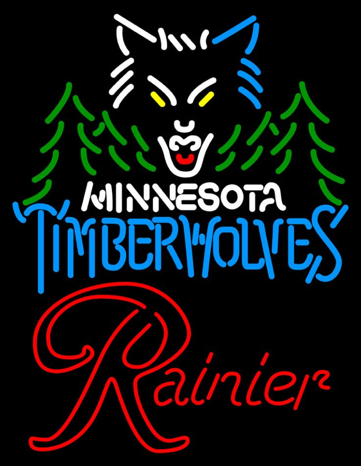 Rainier Minnesota Timber Wolves NBA Neon Beer Sign, Rainier with NBA | Beer with Sports Signs. Makes a great gift. High impact, eye catching, real glass tube neon sign. In stock. Ships in 5 days or less. Brand New Indoor Neon Sign. Neon Tube thickness is 9MM. All Neon Signs have 1 year warranty and 0% breakage guarantee.