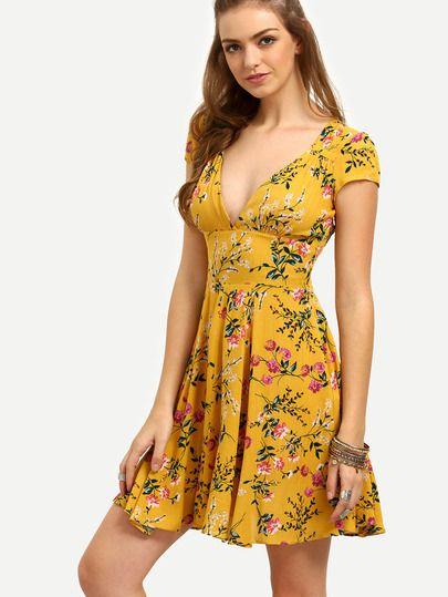 Vestido floral escote V -amarillo