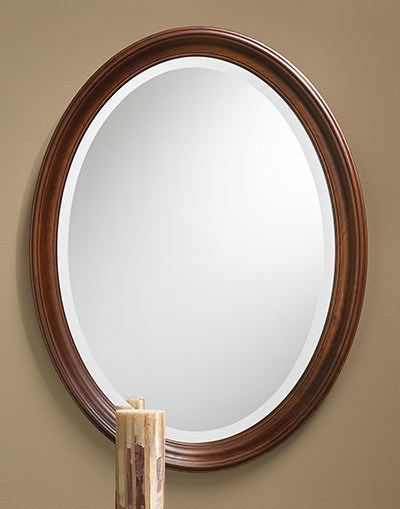 Solid Cherry Oval Framed Beveled Mirror Beveled Edge