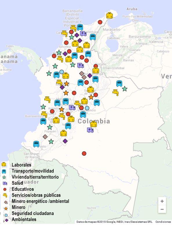 Mapa de conflictos sociales en Colombia