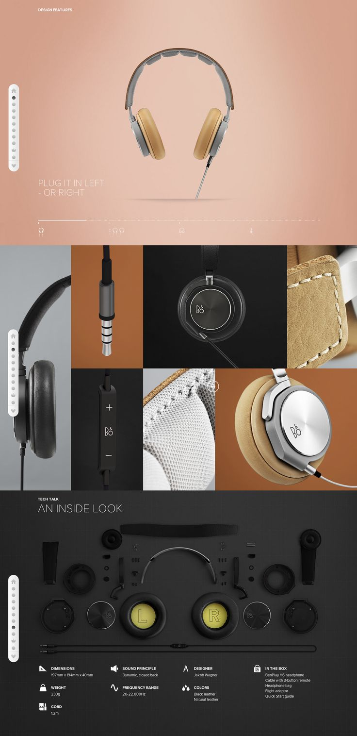 This web design is very interesting. I like how the headphones are broken down by sections from close ups to specs. The color schemes compliments the headphones and makes it's features stand out. You can see the parts within the headphone against a black background but the headphones itself is a focal point with the light green that leads readers to the white type under it. In the specs section, the description of the product is straightforward with information important to buyers.