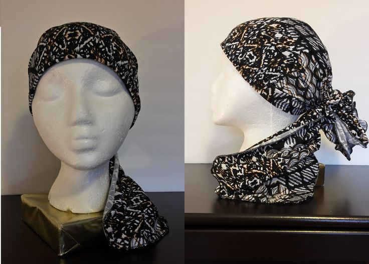 Black, White & a Touch of Brown Print Headscarf  A stylish polyester black, white with a touch of brown print is a great addition to your outfit. Comes with a matching scrunchie to let you wear a different look every time you wear it. It is lightweight and nice to wear around the house or at work. Lined with a soft fabric. One size.