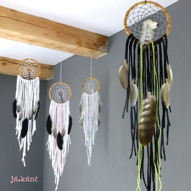 Dreamcather handmade black neon pink buzzard feathers dream catcher bedroom tribal natural boho home decor by jakanestudio on Etsy