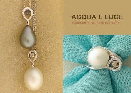 Perle Australia e Tahiti naturali con diamanti bianchi e brown - di nostra produzione....  Acqua e Luce