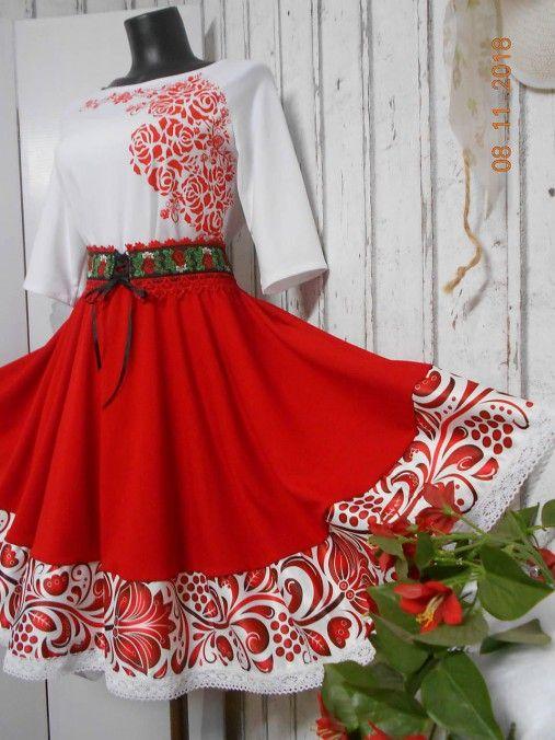 FLORAL FOLK - červená kruhová sukňa s vačkami   NOVELINKOVA.KVETKA ... 46d8c49fc46