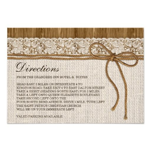 Rustic Burlap And Lace Wedding Direction Cards