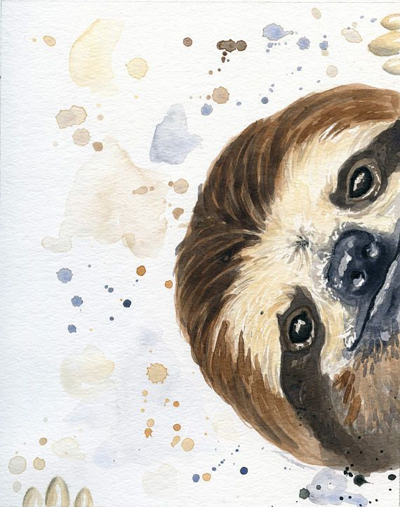 Sloth Art – Sloth Painting – Sloth Gifts – Sloth Nursery – Best Friend Gift – home decor ideas – Sloth Gift Susanne Nehlsen