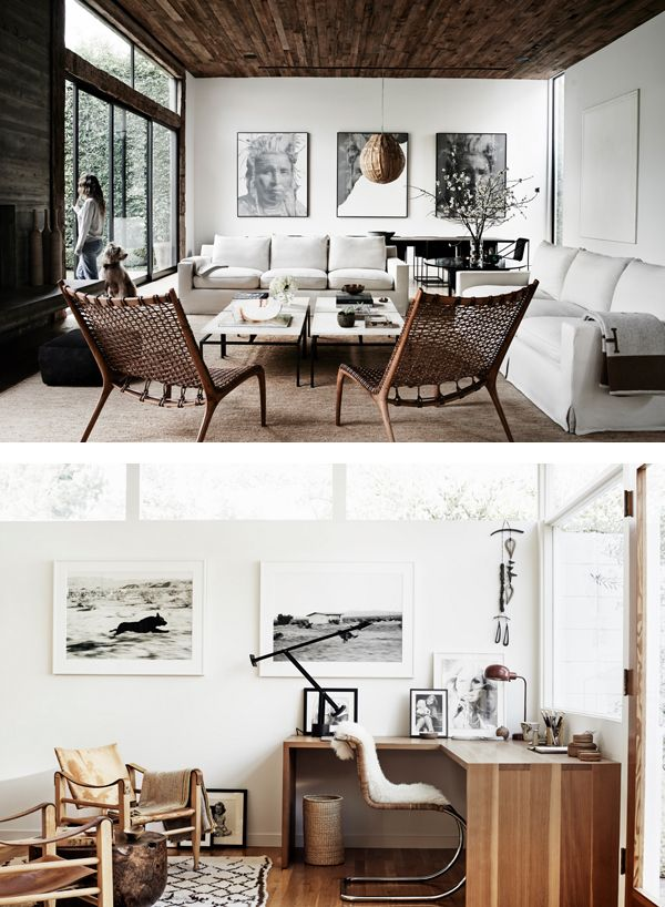 Of all the 35 residences featured in The Kinfolk Home book this stunning house in Los Angeles must be my favorite. The natural light and neutral but warm color pallet creates a beautiful atmosphere. I love the use of natural materials (such as rustic wood, sheep skin rugs & natural textiles) and the blue art work gives just the right amount of color to the living room.