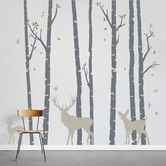 Add a little nature to your decor! Birch Trees Forest with Deer Wall Decal