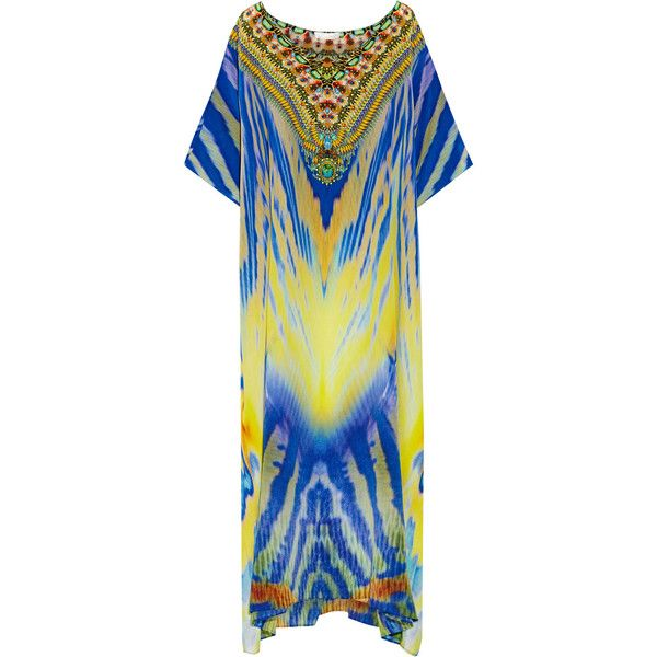 Camilla Meltemi Breeze embellished printed silk-crepe kaftan ($710) ❤ liked on Polyvore featuring tops, tunics, blue, drape top, loose fitting tops, loose tops, colorful tunics and loose tunic