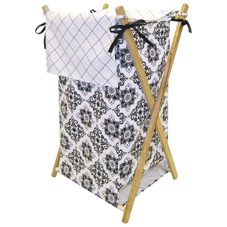Trend Lab Versailles Black & White Laundry Hamper - 21516