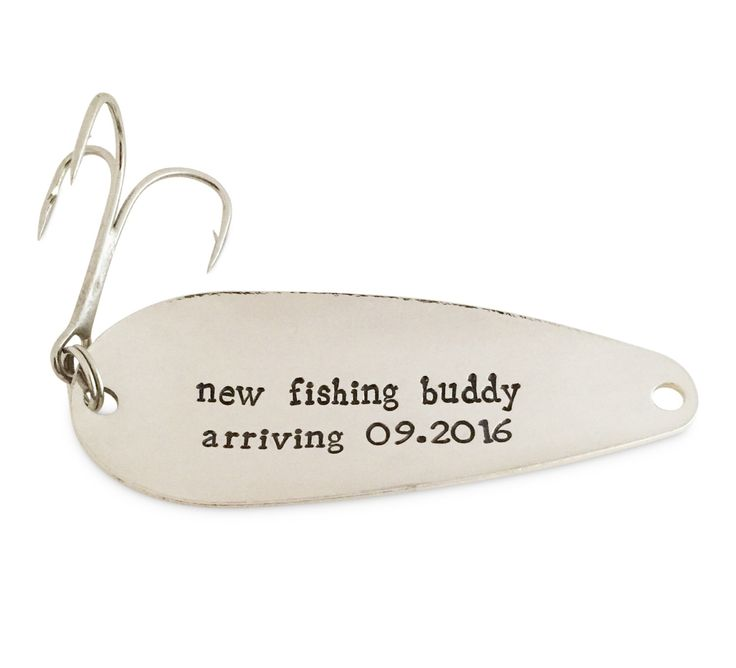 pregnancy announcement, soon to be parents, grandparents, fishing buddy arriving 2016, stamped fishing lure, spoon tracker by SpoonTrackerLures on Etsy https://www.etsy.com/listing/223455596/pregnancy-announcement-soon-to-be
