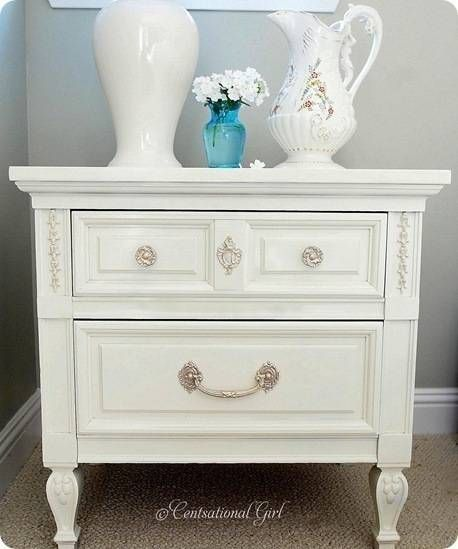 Who could resist an end table with a smiley face and a new white paint job?