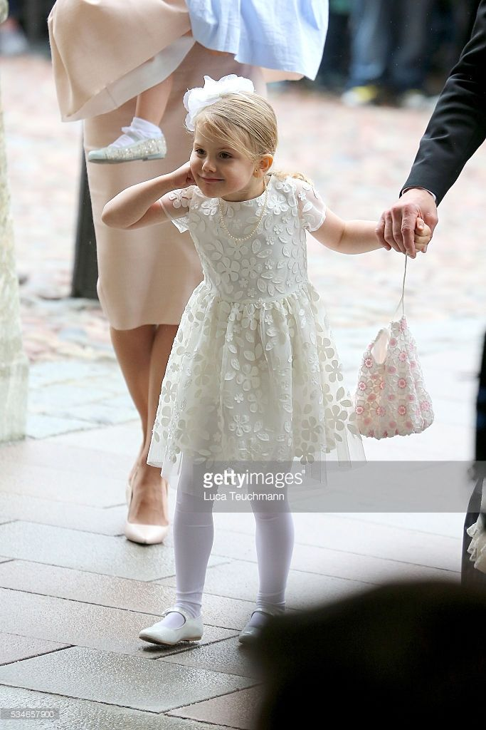 Princess Estelle of Sweden are seen at The Royal Palace for the Christening of Prince Oscar of Sweden on May 27, 2016 in Stockholm, Sweden. (Photo by Luca Teuchmann/Luca Teuchmann / WireImage)