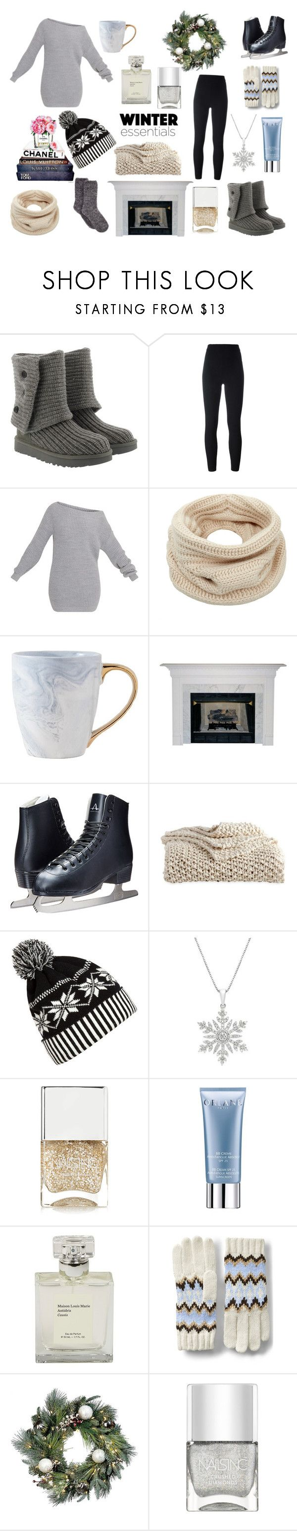 """""""Winter"""" by cgtaylor927 ❤ liked on Polyvore featuring UGG, Yeezy by Kanye West, Helmut Lang, DKNY, WithChic, Nails Inc., Orlane, Lands' End and Improvements"""