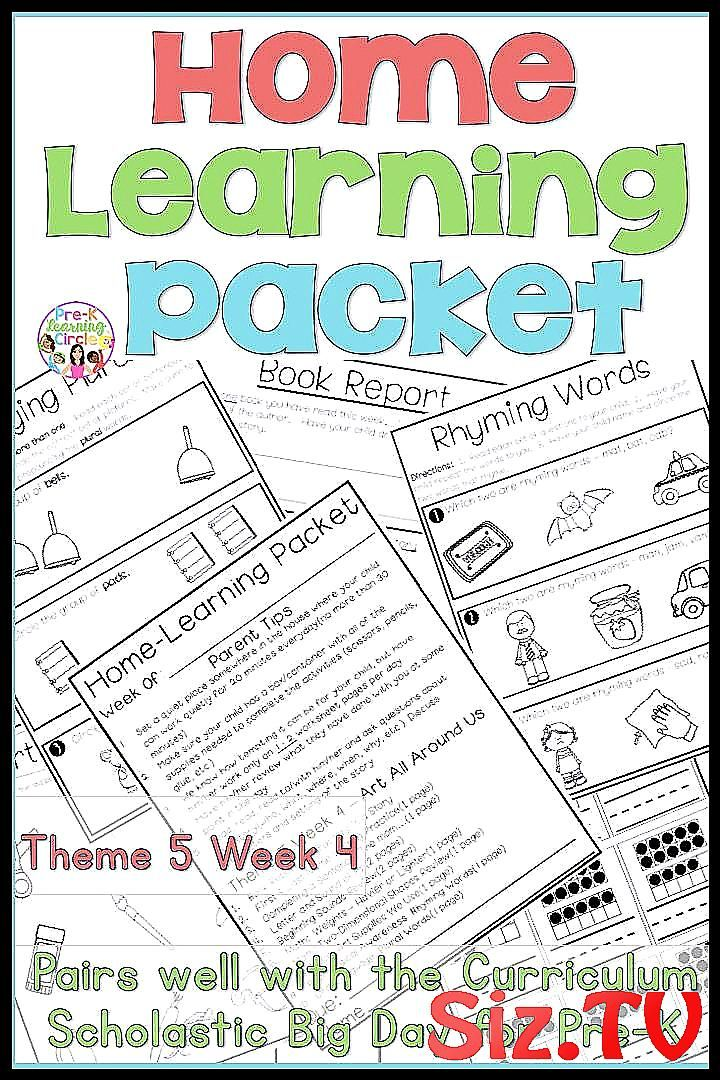 Home Learning Packet For Pre K This Pairs Well With The