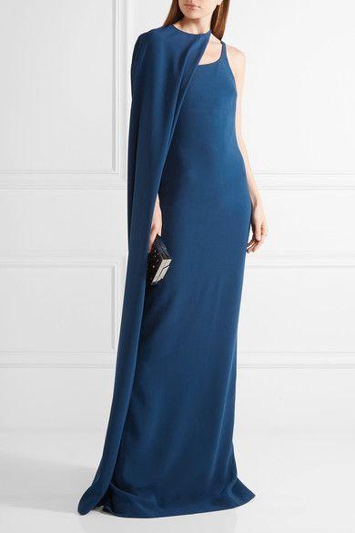 Stella McCartney - Mirabella Cape-effect Stretch-cady Gown - Cobalt blue - IT42
