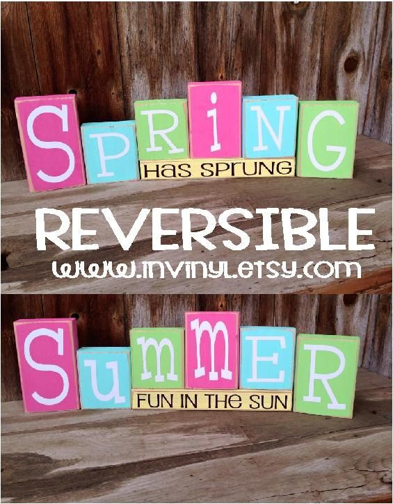 Reversible SPRING and/or SUMMER Wood Blocks home decor von invinyl