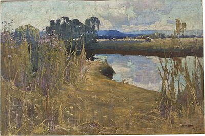 """Cooks River: Summer by Sydney Long. Image: National Gallery of Australia. Sydney Long painted a number of paintings depicting the """"pretty little river"""" including the one above."""