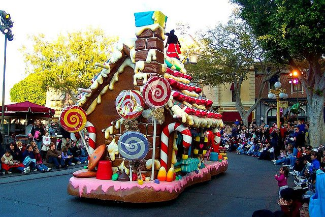 Max's and Goofy's float in the Christmas fantasy parade in Disneyland
