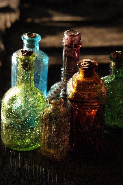 antique bottles. bohemian accents.