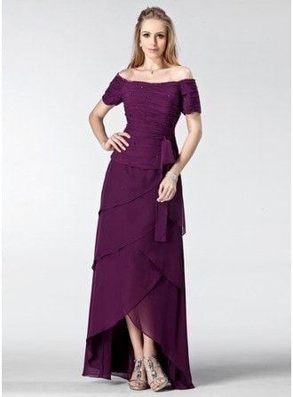 A-Line Princess Off the Shoulder Asymmetrical Chiffon Prom Dress With Ruffle Beading