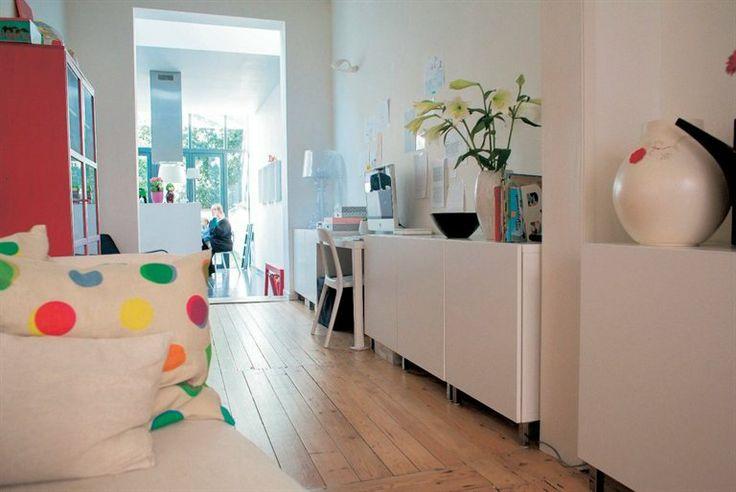 narrow living room - home office