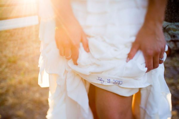 """Wedding date stitched in lining for """"something blue."""""""