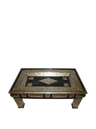 Badia Design Rectangular Metal Coffee Table, Silver/Brown