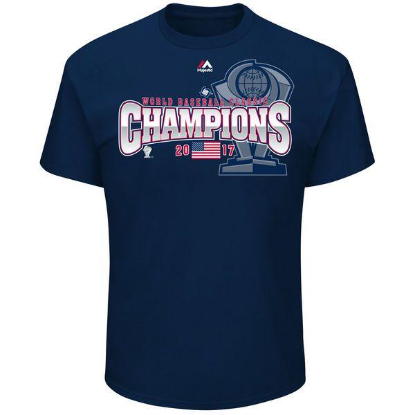 USA Baseball Majestic 2017 World Baseball Classic Champions Trophy T-Shirt - Navy - $24.99