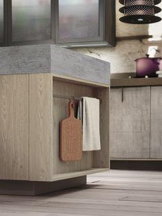Idée rangement en bout d'ilot. Linear fitted kitchen LOFT by Snaidero | design Michele Marcon
