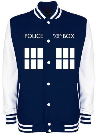 TARDIS Police Box Varsity Jacket - Whovian Geek Fan Doctor Who Inspired University College Letterman Baseball Jacket