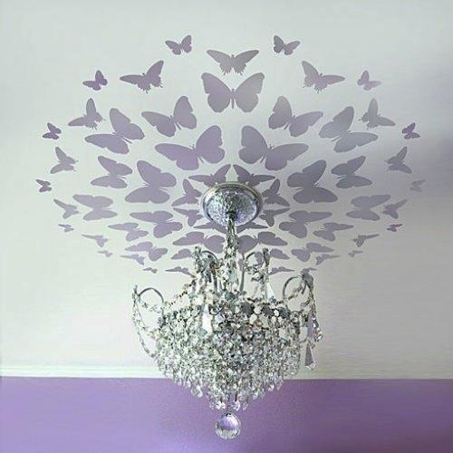 #creative #ceiling #butterflies #chandelier #lilac