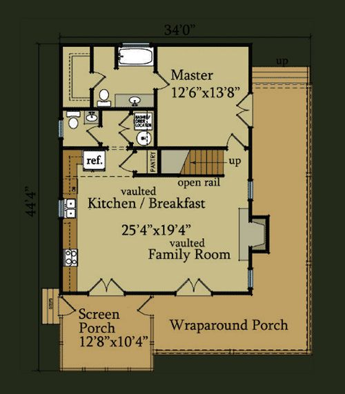 Little River Cabin | Little River House Plan | Floor Plan Design - make up stairs into open study/office