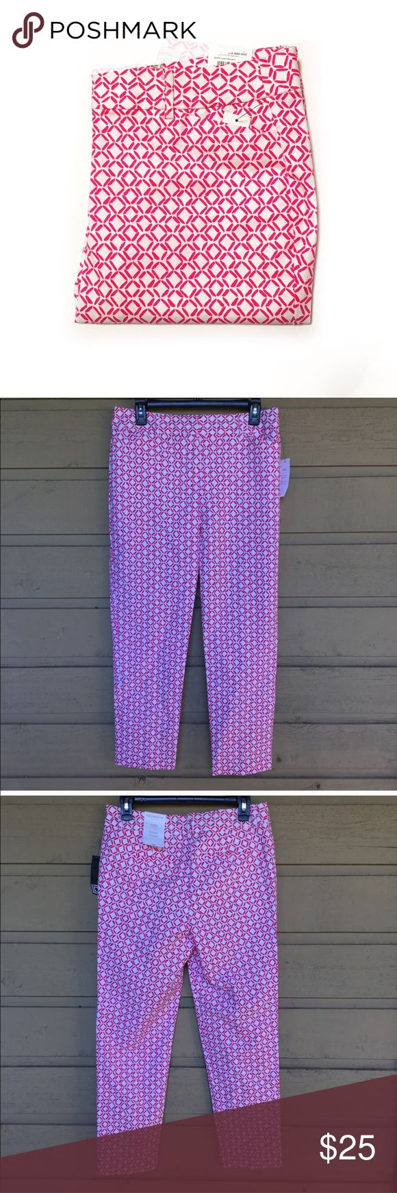 "Liz Claiborne Emma Ankle Capri Pants * Liz Claiborne brand * Emma ankle pants * Size 6 * Brand new with tags * 98% cotton, 2 Spandex * Pink and white pattern  * Skim through hip and thigh * Sits slightly below the waist  * 27"" inseam * Front and back pockets * Belt loops Liz Claiborne Pants Capris"