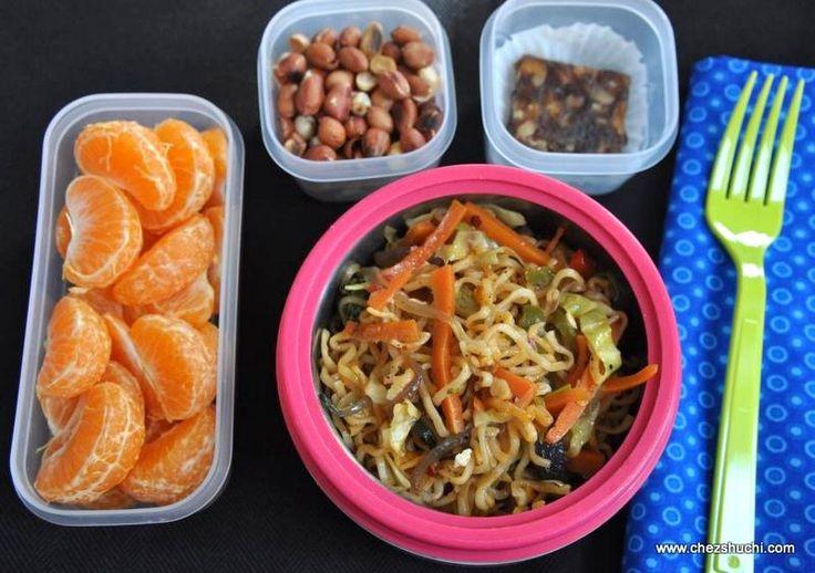 Vegetable Chow Mein for kids' lunch box. बच्चों के लंच बॉक्स के लिए वेज चाउमीन ! http://www.chezshuchi.com/Veg_Chow_Meinh.html