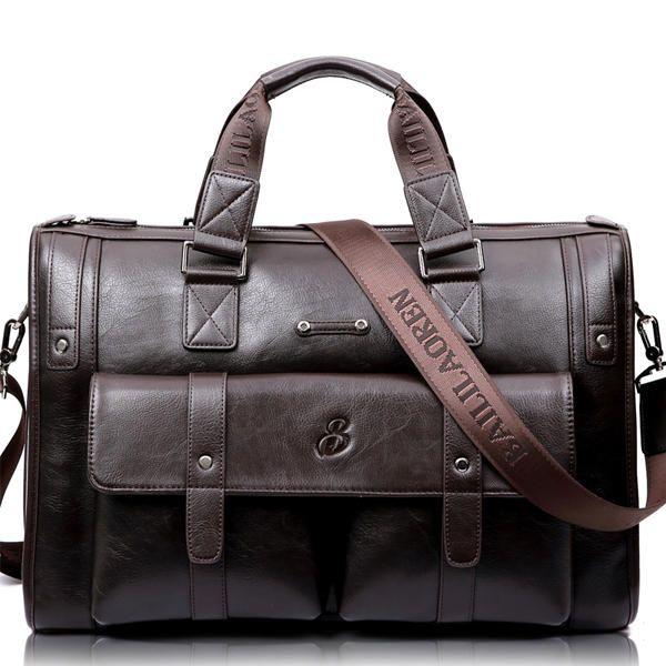 Men Business Vintage Laptop Bag Briefcase Big Capacity Horizontal Handbag Trave - US$85.00