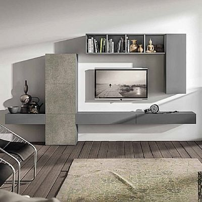 Grey, Elegant 'Master' TV Unit. Beautiful, light and contemporary design. Bookshelves and wall unit. My Italian Living.