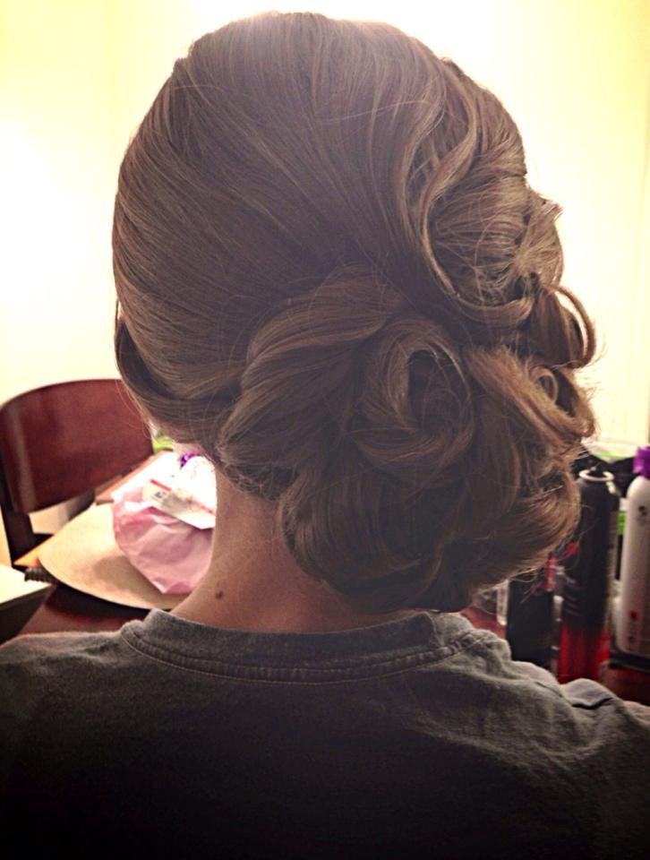 Vintage Updo, Pin Curls, Wedding Hair, Finger Waves, Bridal Hairstyle by A Hair Affair Onlocation Bridal  Formal Event Hairstyling Services