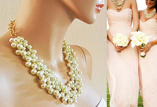 Pearl Chunky Necklace Wedding Jewelry#bridesmaids #gift #wedding (scheduled via http://www.tailwindapp.com?utm_source=pinterest&utm_medium=twpin&utm_content=post110308667&utm_campaign=scheduler_attribution)