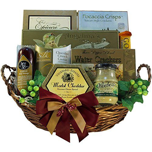 #wow Impress friends, family or valued clients with this classic and #elegant #gift basket filled to overflowing with a grand selection of gourmet goodies.  This ...