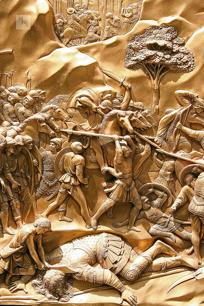 David and Goliath panel, Baptistry Eastern door, by Lorenzo Ghiberti, Florence, Tuscany, Italy | por Mikey Stephens