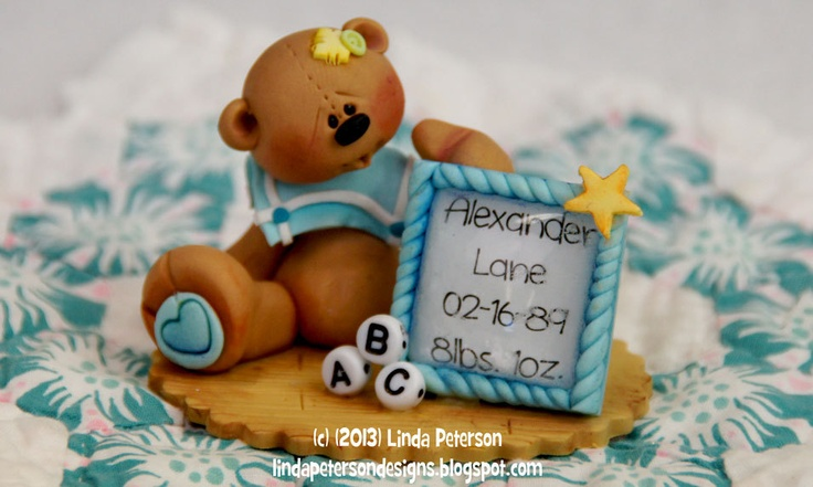 Personalized Baby Gift Keepsake - Baby Cake Topper-Baby Bear  Made to order by Linda Peterson.