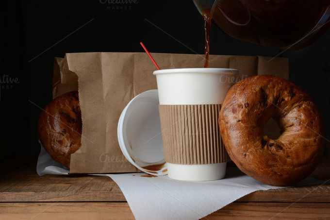 #Coffee and Bagel Breakfast To-Go  A disposable cup of coffee and bag of bagels. A to-go breakfast meal