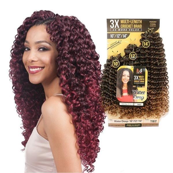 10 12 14 Water Deep 3x Multi Length Braid Crochet Hair Bundle