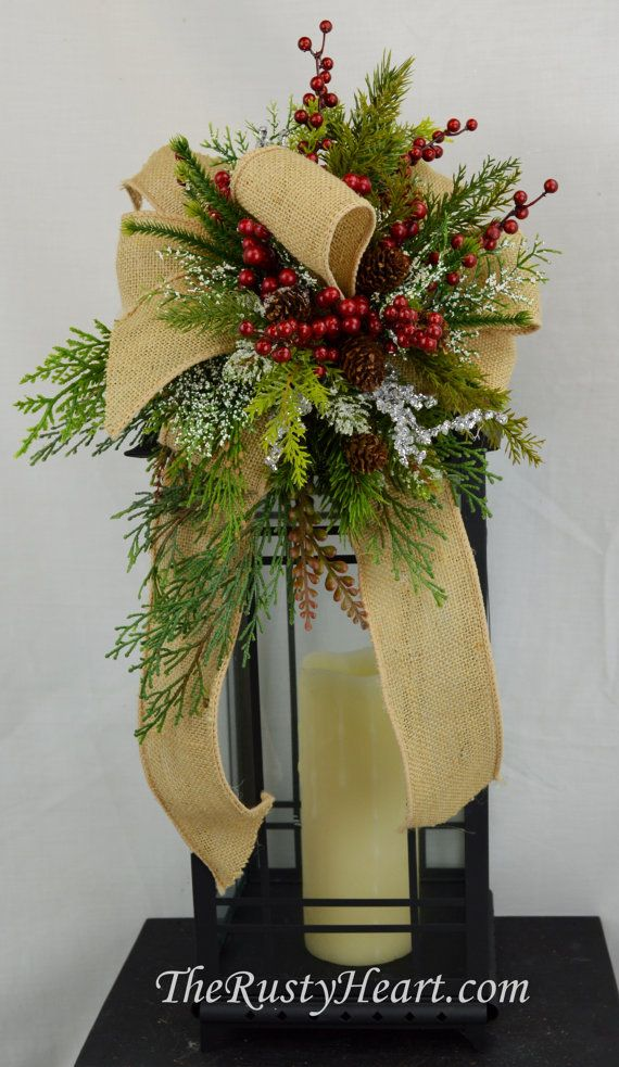 208 best decorating for christmas images on pinterest for Decorating with burlap ribbon for christmas
