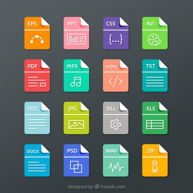File formats collection Free Vector