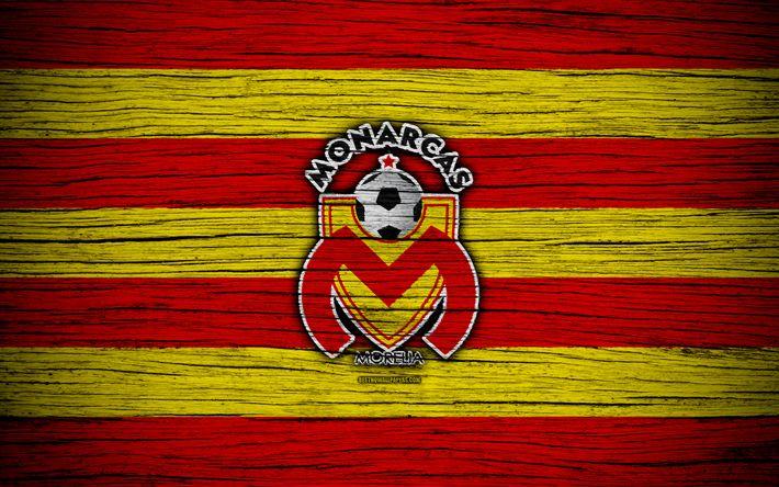 Download wallpapers Monarcas FC, 4k, Liga MX, football, Primera Division, soccer, Mexico, Monarcas, wooden texture, football club, FC Monarcas