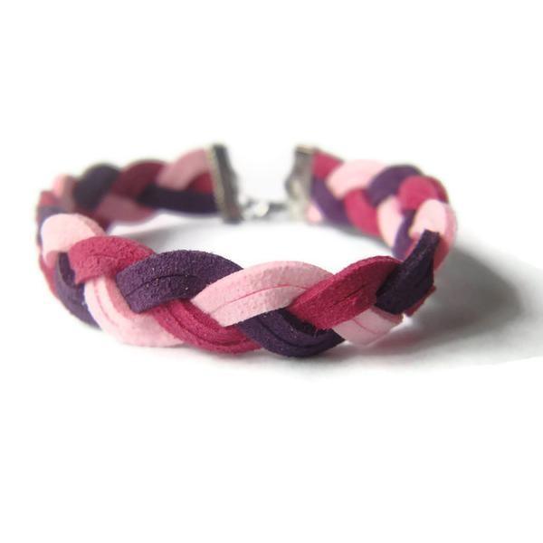 Pulseira entrançada c/ 2 cordões-Trio Braided Pink Magenta Purple Leather Suede Bracelet
